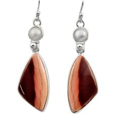 19.29cts natural brown imperial jasper pearl 925 silver dangle earrings r30479