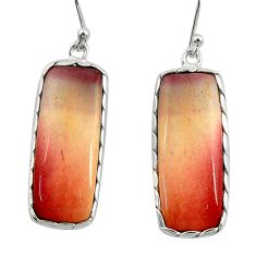 19.29cts natural brown mookaite 925 sterling silver dangle earrings r28957