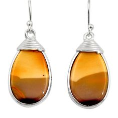 14.76cts natural brown mookaite 925 sterling silver dangle earrings r30342