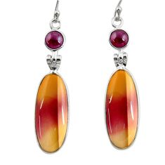 17.53cts natural brown mookaite garnet 925 silver dangle earrings r28943