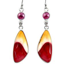 18.14cts natural brown mookaite garnet 925 silver dangle earrings r28945