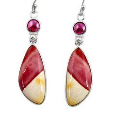 18.70cts natural brown mookaite garnet 925 silver dangle earrings r28946