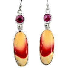 16.88cts natural brown mookaite garnet 925 silver dangle earrings r28949