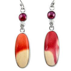 16.32cts natural brown mookaite garnet 925 silver dangle earrings r28951