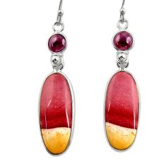 16.32cts natural brown mookaite garnet 925 silver dangle earrings r28953