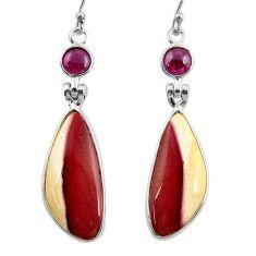 16.32cts natural brown mookaite garnet 925 silver dangle earrings r28954
