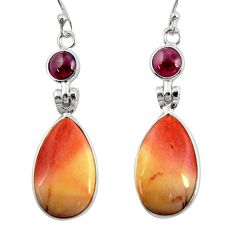 15.37cts natural brown mookaite garnet 925 silver dangle earrings r28956