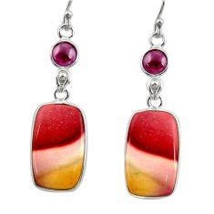 16.32cts natural brown mookaite garnet 925 silver dangle earrings r28960
