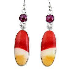 17.08cts natural brown mookaite garnet 925 silver dangle earrings r30354