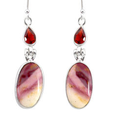 13.43cts natural brown mookaite garnet 925 silver dangle earrings r86921