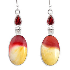 17.66cts natural brown mookaite garnet 925 silver dangle earrings r86922