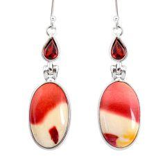16.73cts natural brown mookaite garnet 925 silver dangle earrings r86925