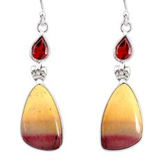 15.34cts natural brown mookaite garnet 925 silver dangle earrings r86926