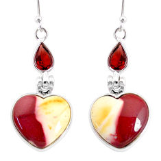 14.08cts natural brown mookaite garnet 925 silver dangle earrings r86945