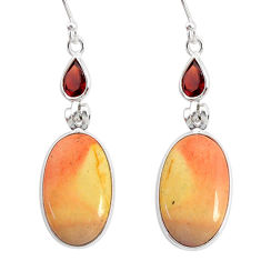 16.65cts natural brown mookaite garnet 925 silver dangle earrings r86946