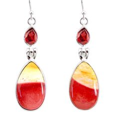 15.94cts natural brown mookaite garnet 925 silver dangle earrings r86947