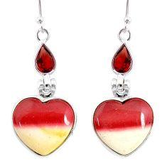 14.20cts natural brown mookaite garnet 925 silver dangle earrings r86952