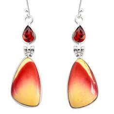 14.89cts natural brown mookaite garnet 925 silver dangle earrings r86955
