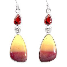 15.58cts natural brown mookaite garnet 925 silver dangle earrings r86957