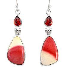 14.26cts natural brown mookaite garnet 925 silver dangle earrings r86958