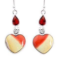 13.48cts natural brown mookaite garnet 925 silver dangle earrings r86960