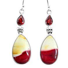16.50cts natural brown mookaite garnet 925 sterling silver earrings t4265