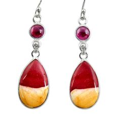 15.93cts natural brown mookaite red garnet 925 silver dangle earrings r28942