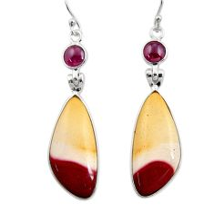 19.98cts natural brown mookaite red garnet 925 silver dangle earrings r30346