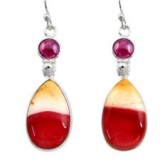 16.50cts natural brown mookaite red garnet 925 silver dangle earrings r30347