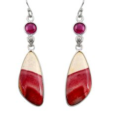 18.24cts natural brown mookaite red garnet 925 silver dangle earrings r30350