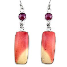 19.98cts natural brown mookaite red garnet 925 silver dangle earrings r30356