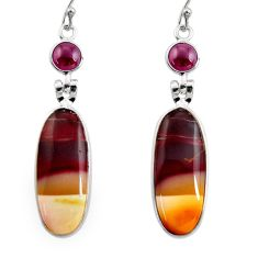 17.49cts natural brown mookaite red garnet 925 silver dangle earrings r30360