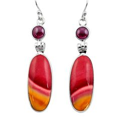 18.70cts natural brown mookaite red garnet 925 silver dangle earrings r30474