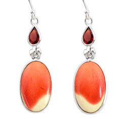17.31cts natural brown mookaite red garnet 925 silver dangle earrings r86948