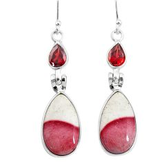 12.96cts natural brown mookaite red garnet 925 silver dangle earrings t4264