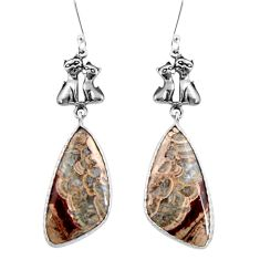 Clearance Sale- 16.88cts natural brown mushroom rhyolite 925 silver two cats earrings d39693