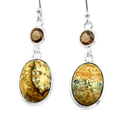 9.96cts natural brown picture jasper smoky topaz 925 silver earrings t54921