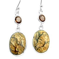 10.37cts natural brown picture jasper smoky topaz 925 silver earrings t54922