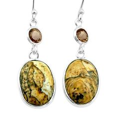 9.96cts natural brown picture jasper smoky topaz 925 silver earrings t54923