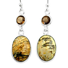 8.80cts natural brown picture jasper smoky topaz 925 silver earrings t54926