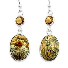 10.29cts natural brown picture jasper smoky topaz 925 silver earrings t54927