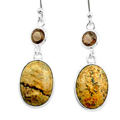 9.37cts natural brown picture jasper smoky topaz 925 silver earrings t54931