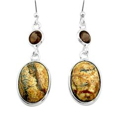 9.91cts natural brown picture jasper smoky topaz 925 silver earrings t54933