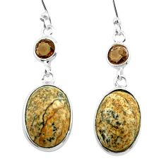 9.91cts natural brown picture jasper smoky topaz 925 silver earrings t54940