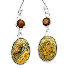 9.57cts natural brown picture jasper smoky topaz 925 silver earrings t56036