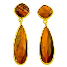 28.03cts natural brown tiger's eye 925 silver 14k gold dangle earrings r32495
