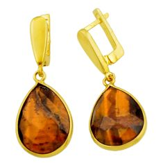 21.05cts natural brown tiger's eye 925 silver 14k gold dangle earrings r32559