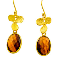 11.20cts natural brown tiger's eye 925 silver 14k gold dangle earrings r32620