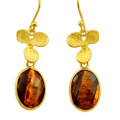 10.58cts natural brown tiger's eye 925 silver 14k gold dangle earrings r32637