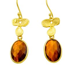 10.58cts natural brown tiger's eye 925 silver 14k gold dangle earrings r32640
